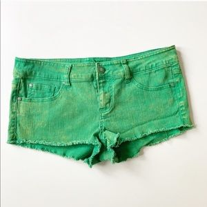 🌿ENR Distressed Green Cutoff Jean Shorts